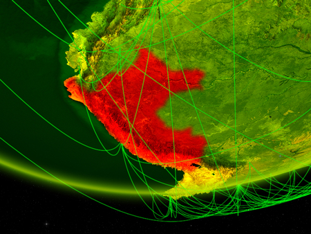 Peru on green model of planet Earth with network representing digital age, travel and communication. 3D illustration. Stock Photo