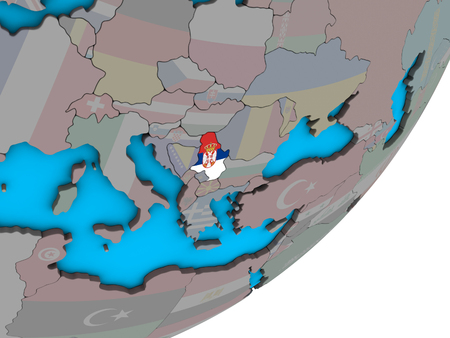 Serbia with national flag on blue political 3D globe. 3D illustration.