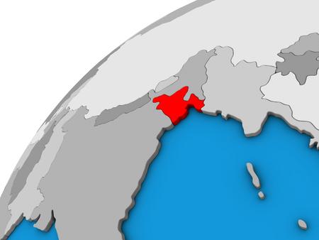 Bangladesh on 3D globe. 3D illustration. Stock Photo