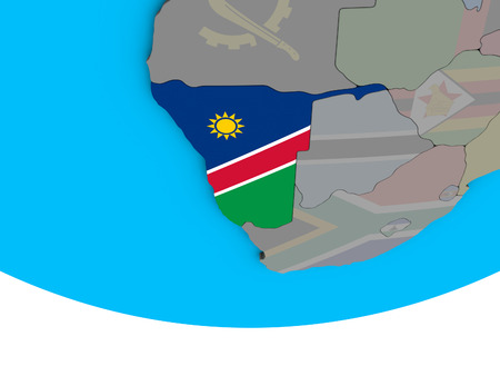Namibia with embedded national flag on simple political 3D globe. 3D illustration.