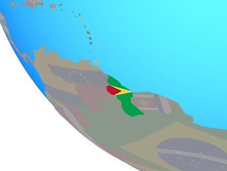 Guyana with national flag on simple globe. 3D illustration.