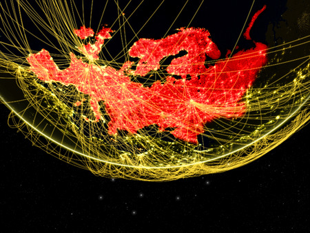 Europe on dark Earth with networks. Concept of intercontinental connections. 3D illustration.