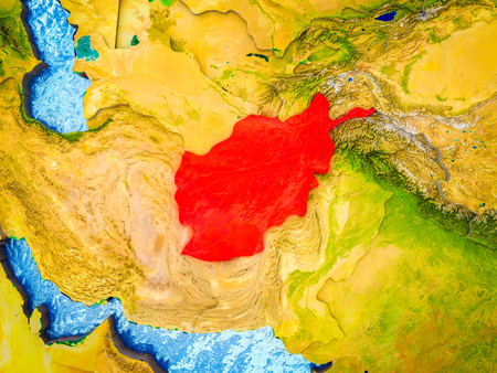 Afghanistan on model of 3D Earth with blue oceans and divided countries. 3D illustration.