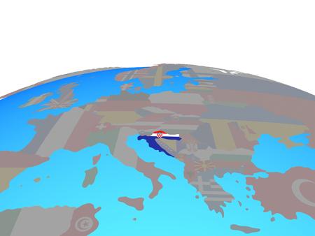 Croatia with national flag on political globe. 3D illustration. Фото со стока