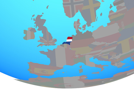 Netherlands with national flag on simple political globe. 3D illustration.