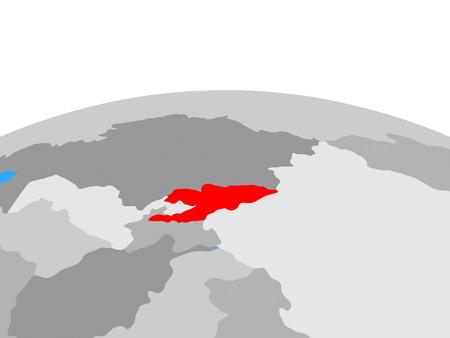 Kyrgyzstan on political globe. 3D illustration. Stock Photo
