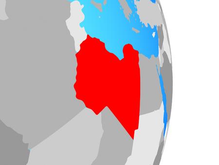 Libya on simple political globe. 3D illustration. Stockfoto