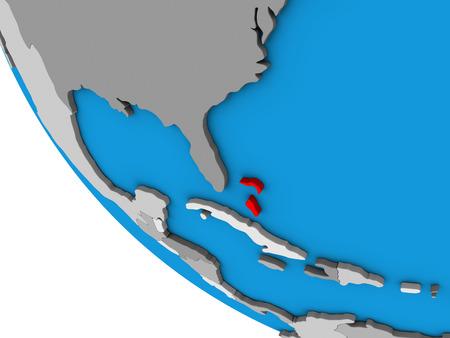 Bahamas on simple 3D globe. 3D illustration. Stock Photo