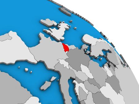 Belgium on simple blue political 3D globe. 3D illustration.