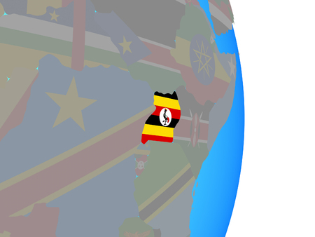 Uganda with national flag on simple political globe. 3D illustration.