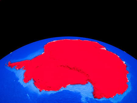 Antarctica on model of planet Earth with country borders and very detailed planet surface. 3D illustration.