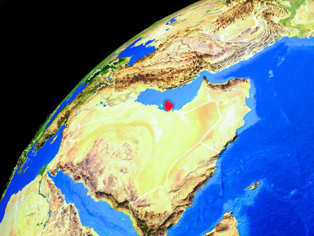 Qatar from space. Planet Earth with country borders and extremely high detail of planet surface. 3D illustration.