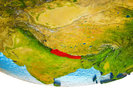 Nepal on 3D Earth with divided countries and watery oceans. 3D illustration. 스톡 콘텐츠