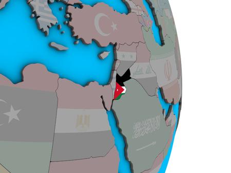 Jordan with embedded national flag on simple political 3D globe. 3D illustration.