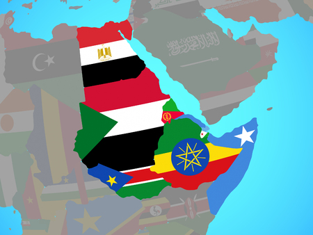 Northeast Africa with national flags on blue political globe. 3D illustration.