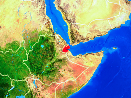 Djibouti from space on model of planet Earth with country borders and very detailed planet surface. 3D illustration.