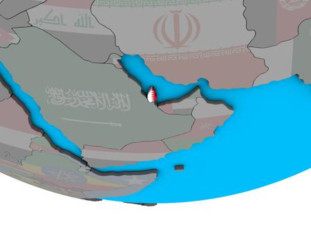 Qatar with embedded national flag on simple political 3D globe. 3D illustration.