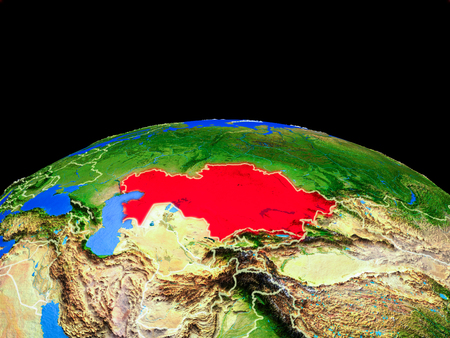 Kazakhstan on model of planet Earth with country borders and very detailed planet surface. 3D illustration. Stock Photo