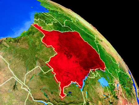 Dem Rep of Congo on planet Earth from space with country borders. Very fine detail of planet surface. 3D illustration. Banco de Imagens