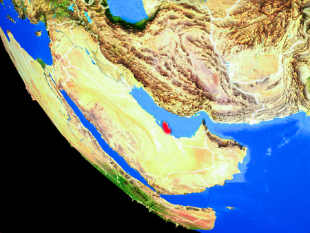 Qatar on realistic model of planet Earth with country borders and very detailed planet surface. 3D illustration.