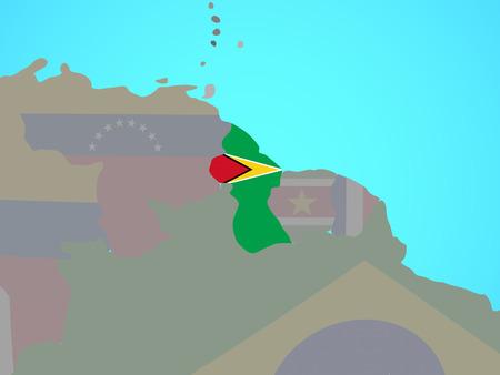 Guyana with national flag on blue political globe. 3D illustration.