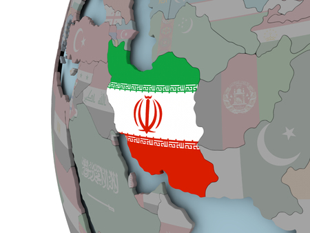 Iran with embedded flag on political globe. 3D illustration. Stock Photo