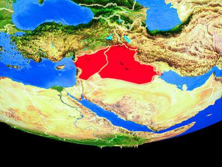 Islamic State from space on model of planet Earth with country borders. 3D illustration.