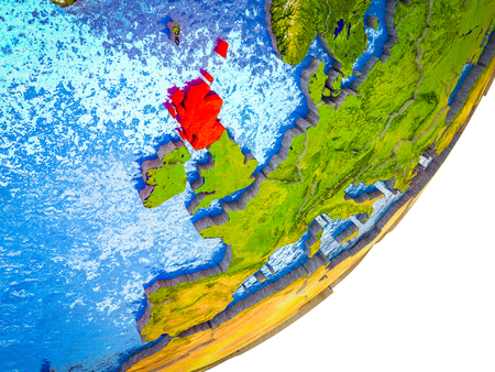 Scotland on 3D model of Earth with water and divided countries. 3D illustration. Stock Photo