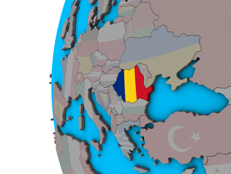 Romania with national flag on blue political 3D globe. 3D illustration. Фото со стока