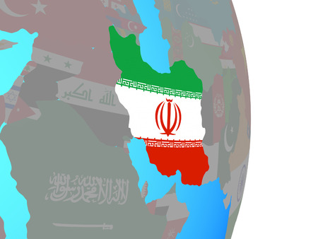 Iran with national flag on simple political globe. 3D illustration. 版權商用圖片
