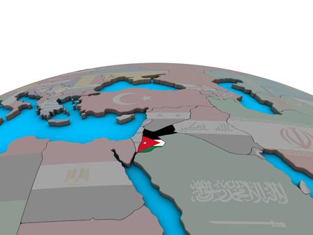 Jordan with embedded national flag on political 3D globe. 3D illustration.