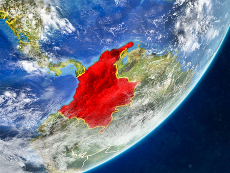Colombia on model of planet Earth with country borders and very detailed planet surface and clouds. 3D illustration.