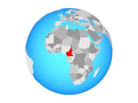 Cameroon on blue political globe. 3D illustration isolated on white background.