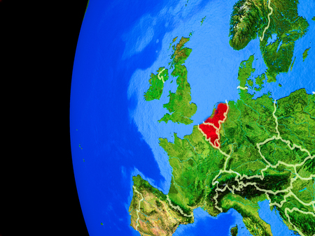 Benelux Union from space on realistic model of planet Earth with country borders and detailed planet surface. 3D illustration. Stock Photo