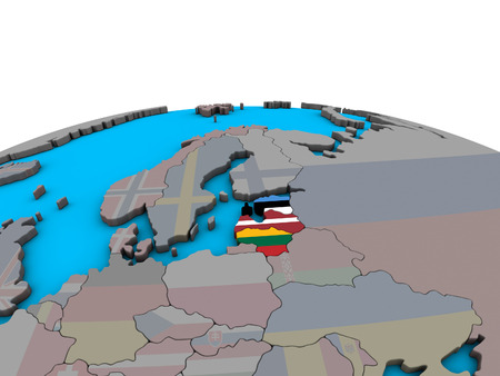 Baltic States with embedded national flags on political 3D globe. 3D illustration.