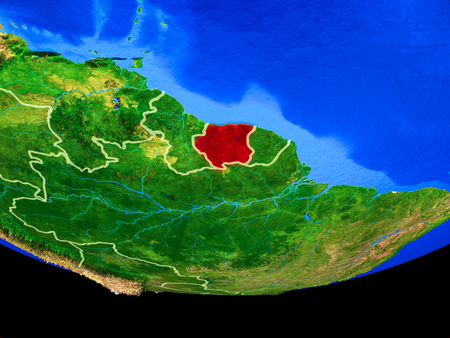 Suriname from space on model of planet Earth with country borders. 3D illustration.