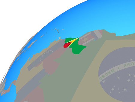 Guyana with embedded national flag on globe. 3D illustration.