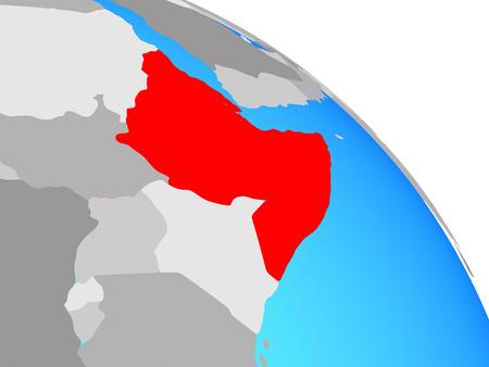 Horn of Africa on simple blue political globe. 3D illustration.