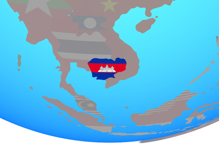 Cambodia with national flag on simple political globe. 3D illustration.