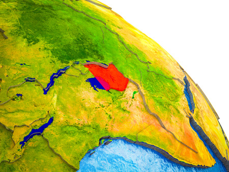 Uganda Highlighted on 3D Earth model with water and visible country borders. 3D illustration.