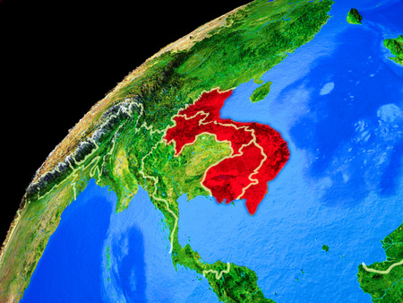 Indochina from space. Planet Earth with country borders and extremely high detail of planet surface. 3D illustration.