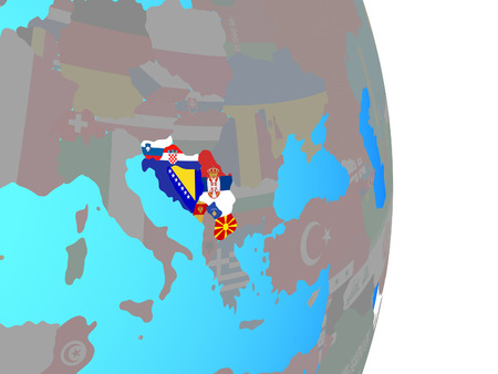 Former Yugoslavia with national flags on simple political globe. 3D illustration.