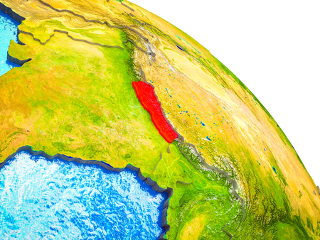 Nepal Highlighted on 3D Earth model with water and visible country borders. 3D illustration. Фото со стока