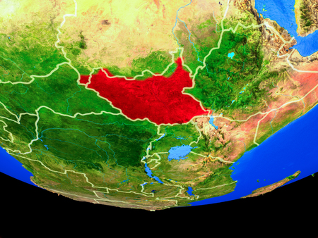 South Sudan from space on model of planet Earth with country borders. 3D illustration.