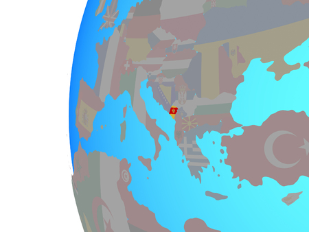 Montenegro with embedded national flag on blue political globe. 3D illustration.