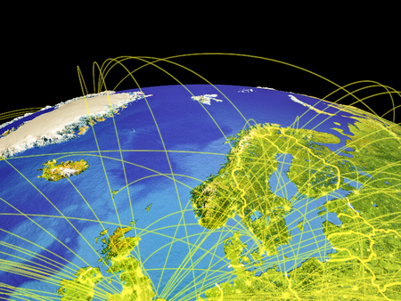 Northern Europe on planet Earth with country borders and trajectories representing international communication, travel, connections. 3D illustration.