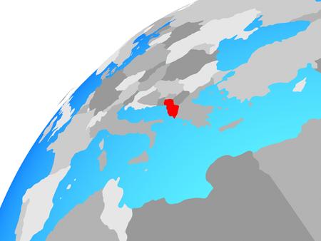 Albania on globe. 3D illustration.