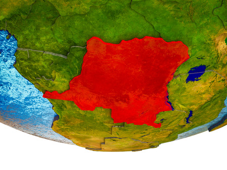 Dem Rep of Congo on 3D Earth with divided countries and watery oceans. 3D illustration.
