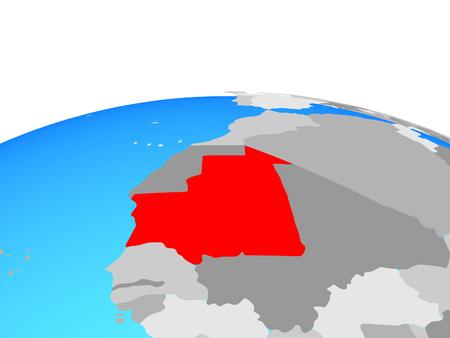 Mauritania on political globe. 3D illustration.