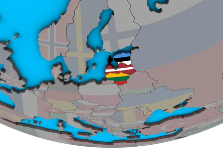 Baltic States with embedded national flags on simple political 3D globe. 3D illustration.